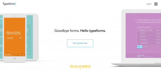 Typeform welcome screen capture